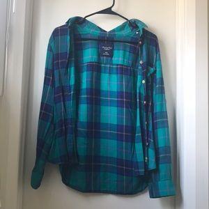 American Eagle green and blue Plaid Shirt